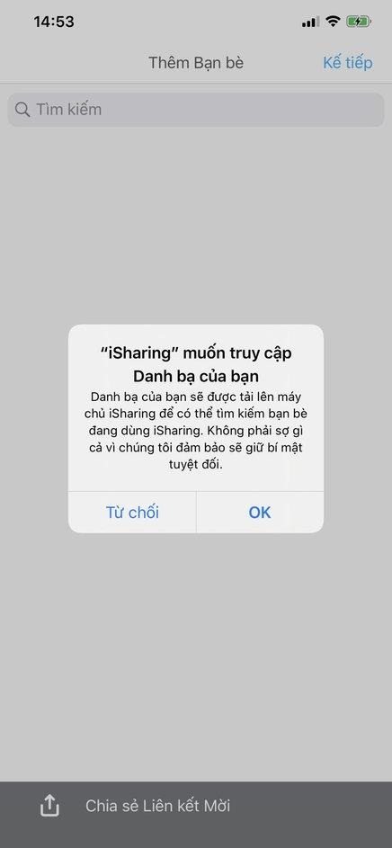 cho phép isharing truy cập danh bạ